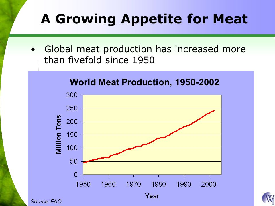 A Growing Appetite for Meat Global meat production has increased more than fivefold since 1950 World Meat Production, 1950-2002 Source: FAO
