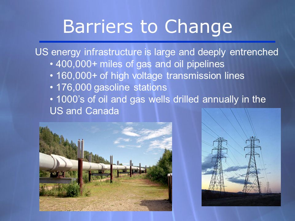 US energy infrastructure is large and deeply entrenched 400,000+ miles of gas and oil pipelines 160,000+ of high voltage transmission lines 176,000 gasoline stations 1000's of oil and gas wells drilled annually in the US and Canada Barriers to Change