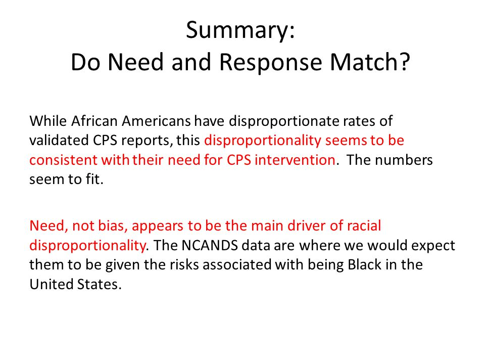 Summary: Do Need and Response Match.