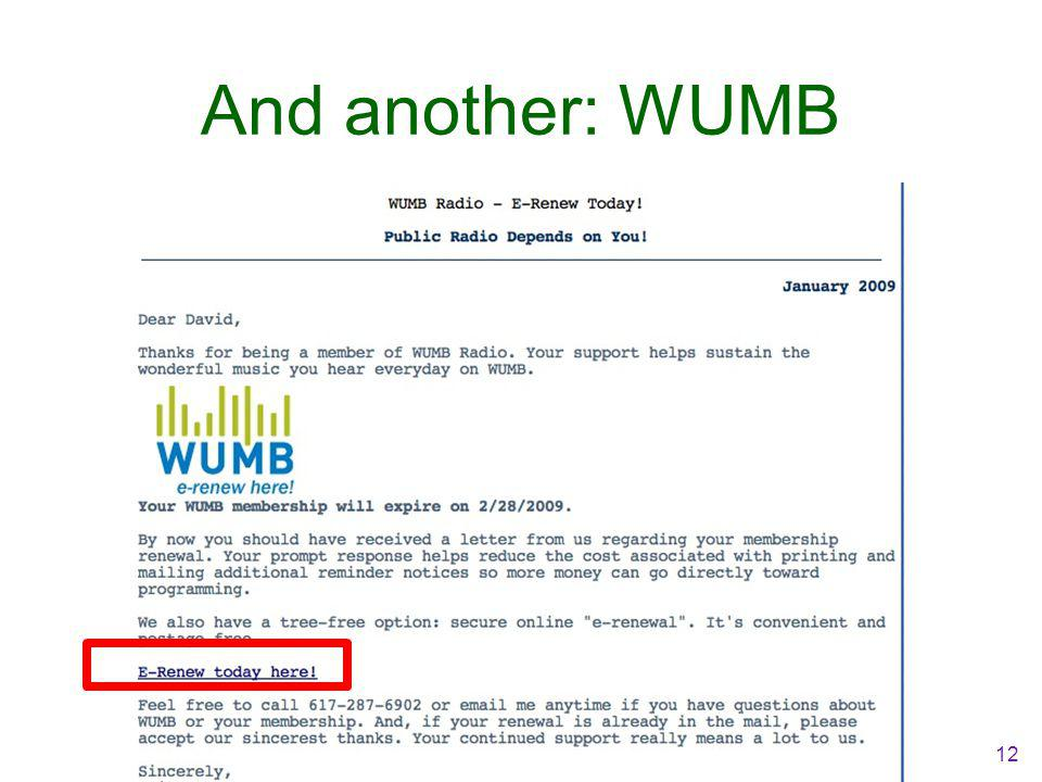 And another: WUMB 12