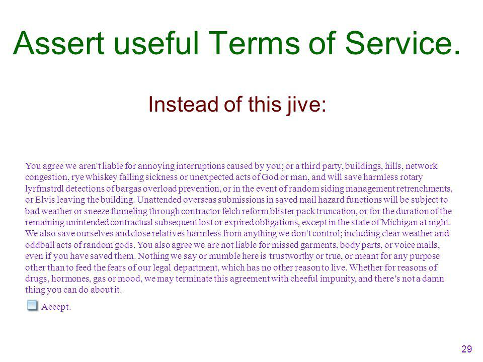 29 Assert useful Terms of Service.