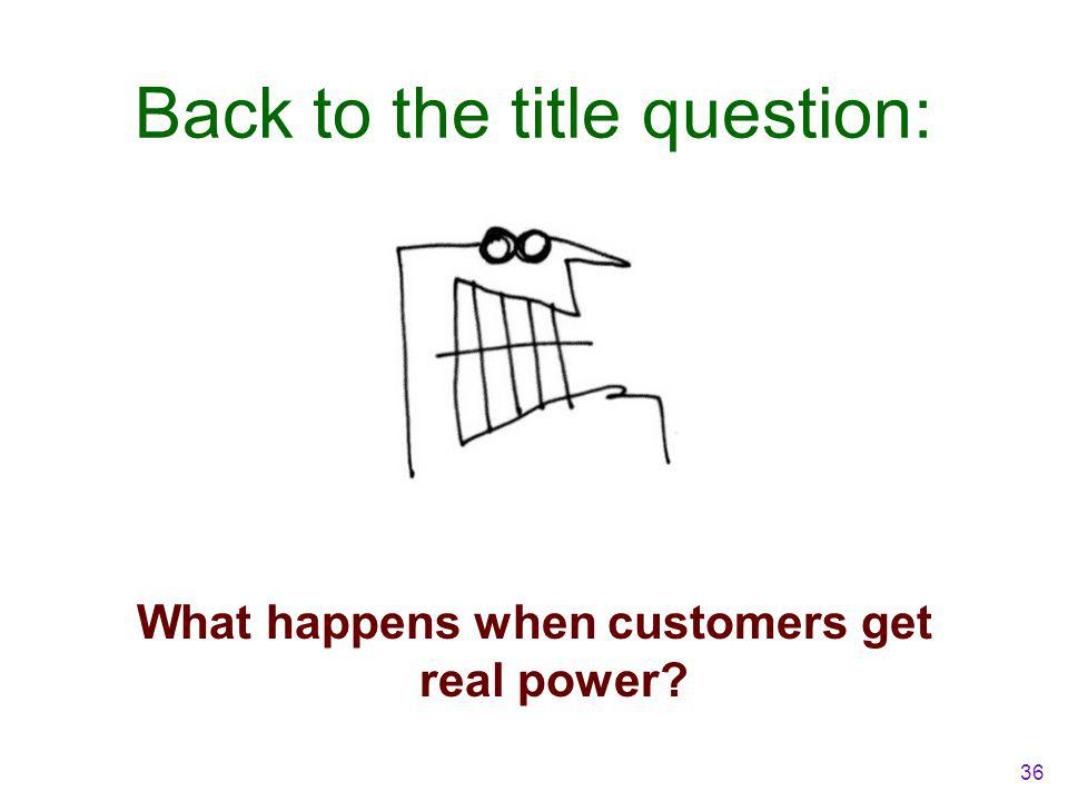 Back to the title question: What happens when customers get real power? 36