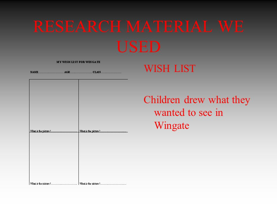 RESEARCH MATERIAL WE USED WISH LIST Children drew what they wanted to see in Wingate