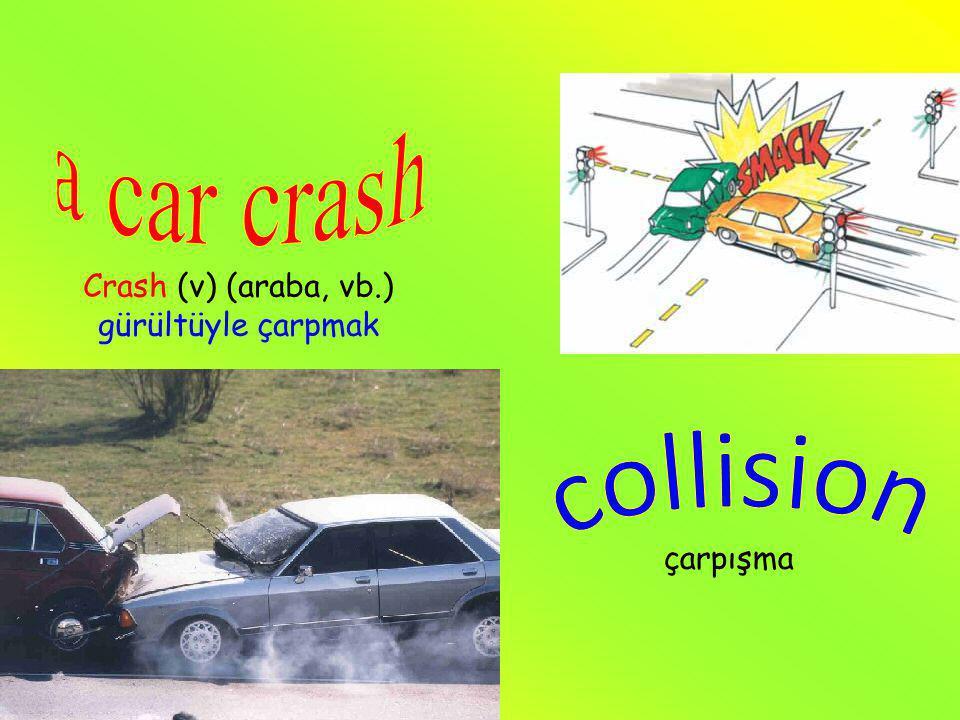 çarpışma Crash (v) (araba, vb.) gürültüyle çarpmak