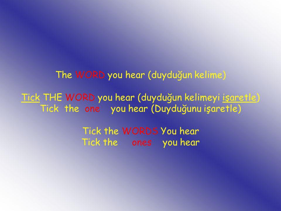 The WORD you hear (duyduğun kelime) Tick THE WORD you hear (duyduğun kelimeyi işaretle) Tick the one you hear (Duyduğunu işaretle) Tick the WORDS You