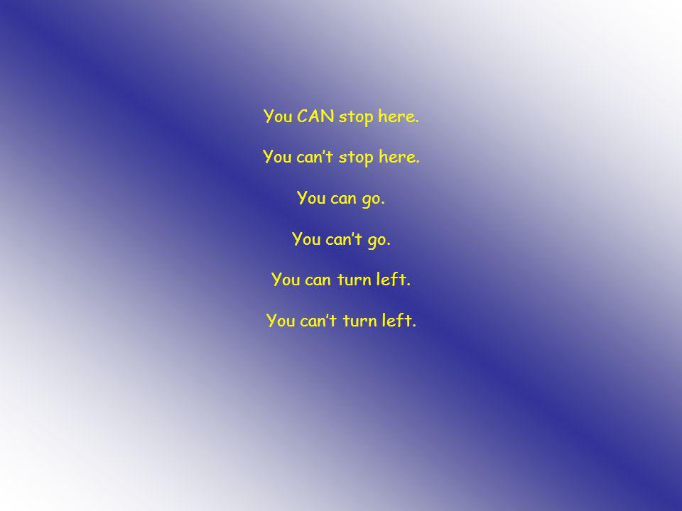 You CAN stop here. You can't stop here. You can go. You can't go. You can turn left. You can't turn left.