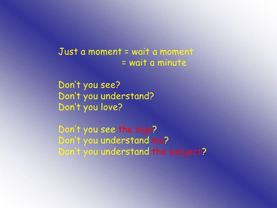 Just a moment = wait a moment = wait a minute Don't you see? Don't you understand? Don't you love? Don't you see the sign? Don't you understand me? Do