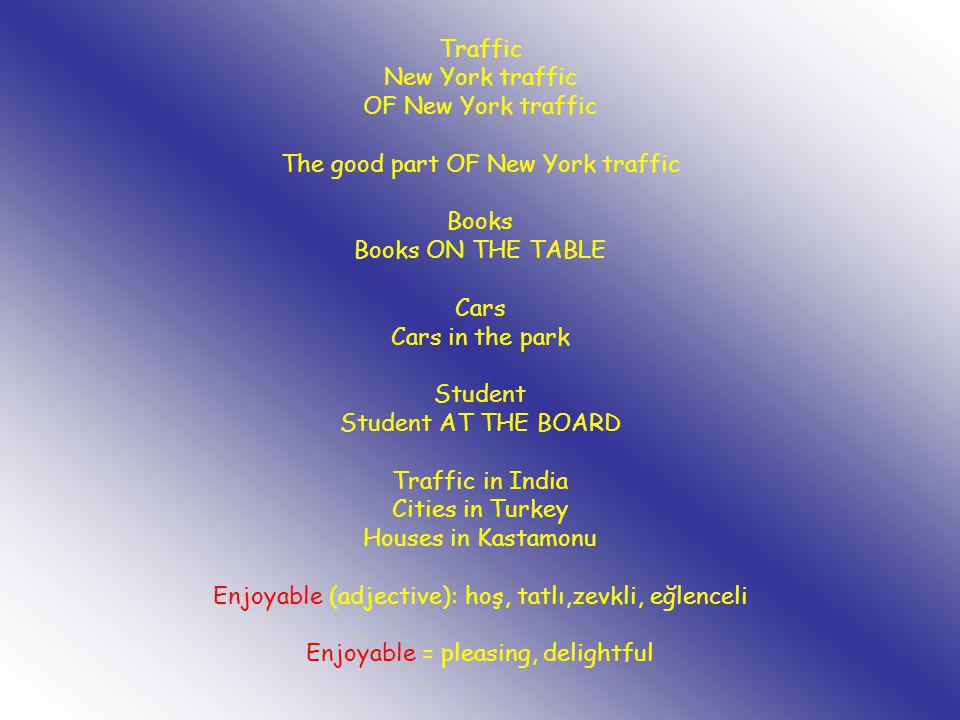 Traffic New York traffic OF New York traffic The good part OF New York traffic Books Books ON THE TABLE Cars Cars in the park Student Student AT THE B