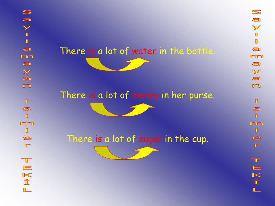 There is a lot of water in the bottle. There is a lot of money in her purse. There is a lot of sugar in the cup.