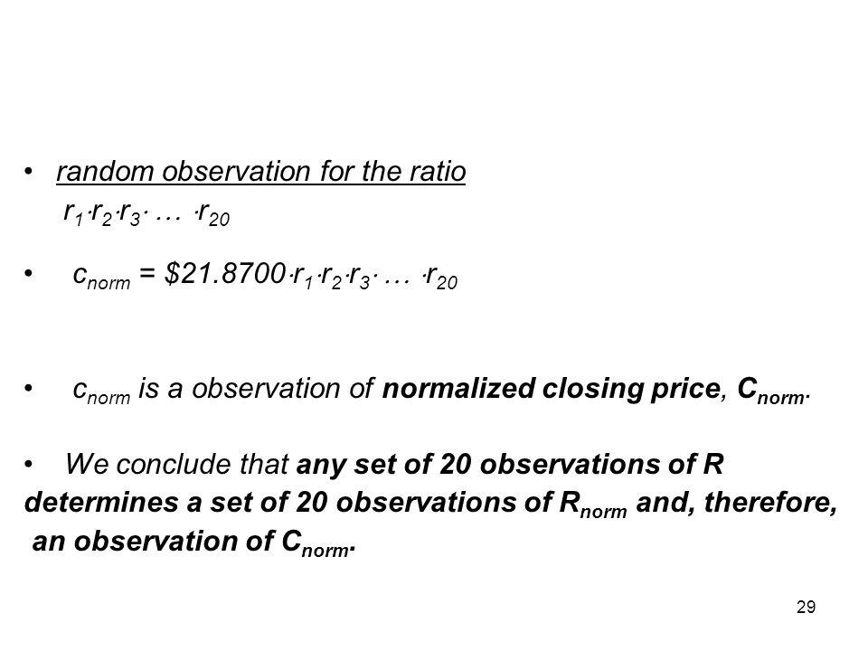 29 random observation for the ratio r 1  r 2  r 3    r 20 c norm = $21.8700  r 1  r 2  r 3    r 20 c norm is a observation of normalized cl