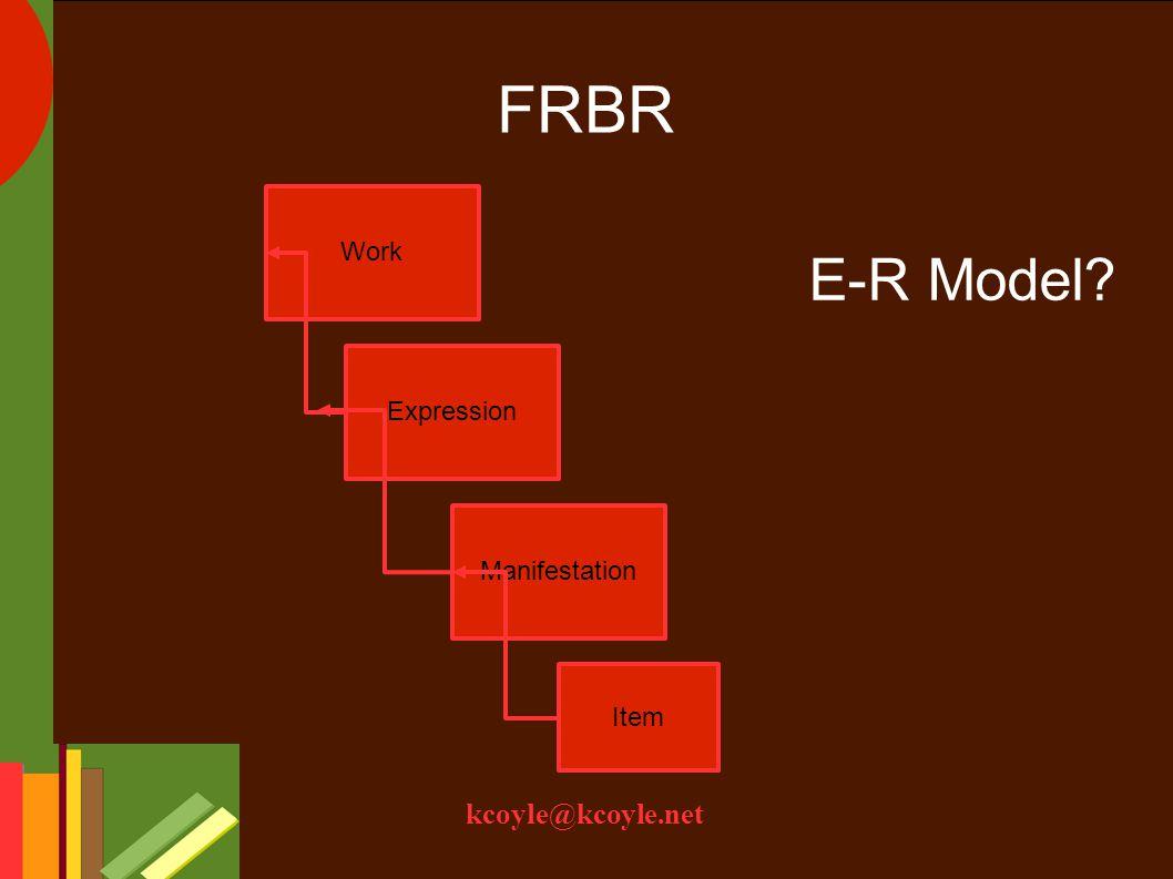 kcoyle@kcoyle.net FRBR Work Item Expression Manifestation E-R Model?