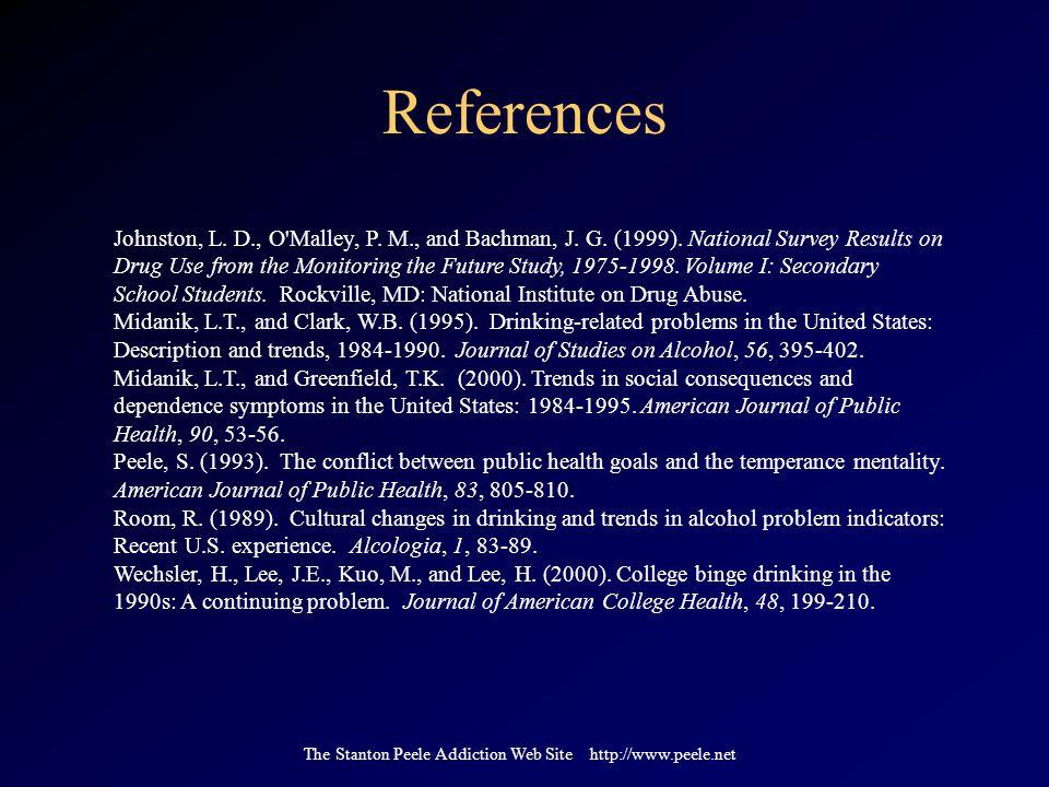 The Stanton Peele Addiction Web Site http://www.peele.net References Johnston, L.