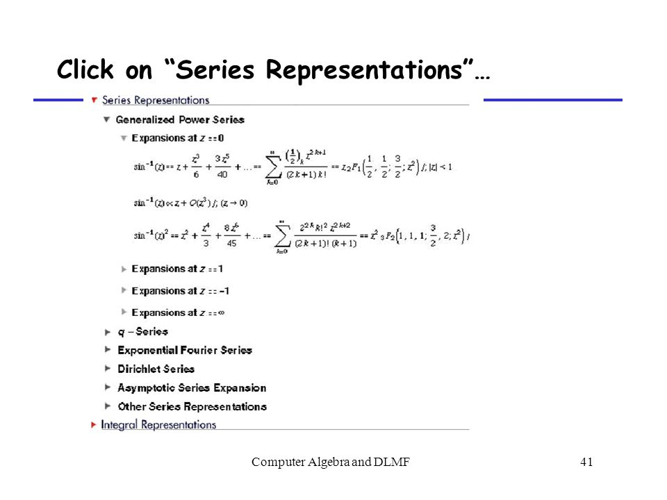 Computer Algebra and DLMF41 Click on Series Representations …