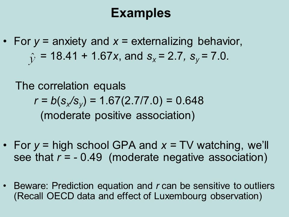 Examples For y = anxiety and x = externalizing behavior, = 18.41 + 1.67x, and s x = 2.7, s y = 7.0. The correlation equals r = b(s x /s y ) = 1.67(2.7