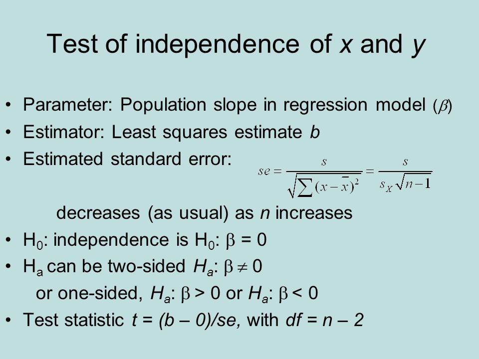 Test of independence of x and y Parameter: Population slope in regression model (  ) Estimator: Least squares estimate b Estimated standard error: de