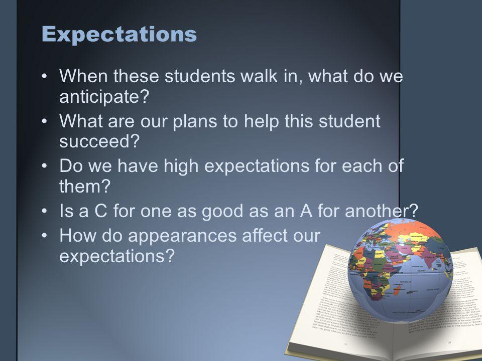 Expectations When these students walk in, what do we anticipate.