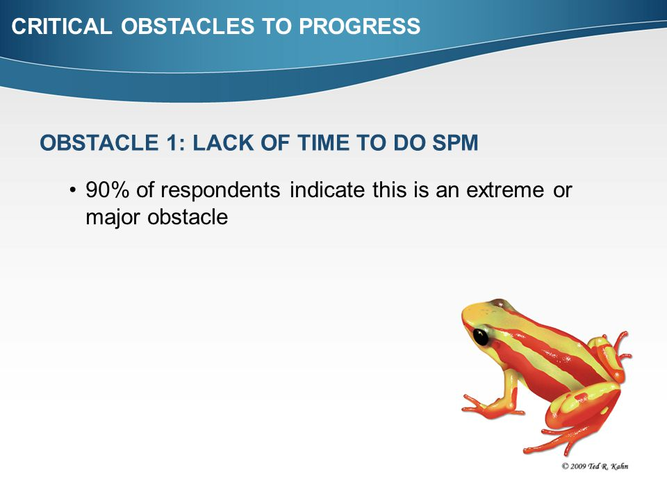 CRITICAL OBSTACLES TO PROGRESS OBSTACLE 1: LACK OF TIME TO DO SPM 90% of respondents indicate this is an extreme or major obstacle