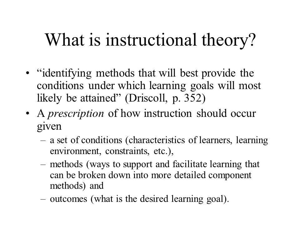 What is instructional theory.