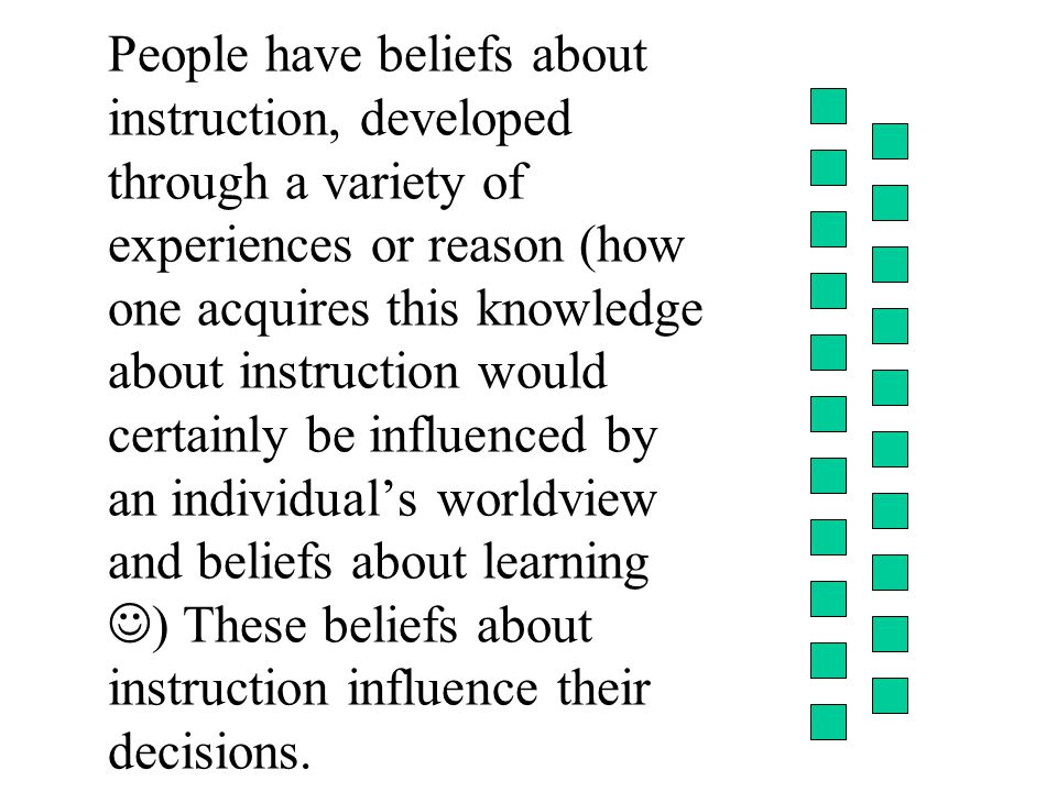 People have beliefs about instruction, developed through a variety of experiences or reason (how one acquires this knowledge about instruction would certainly be influenced by an individual's worldview and beliefs about learning ) These beliefs about instruction influence their decisions.