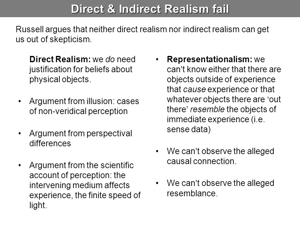 Direct & Indirect Realism fail Direct Realism: we do need justification for beliefs about physical objects.