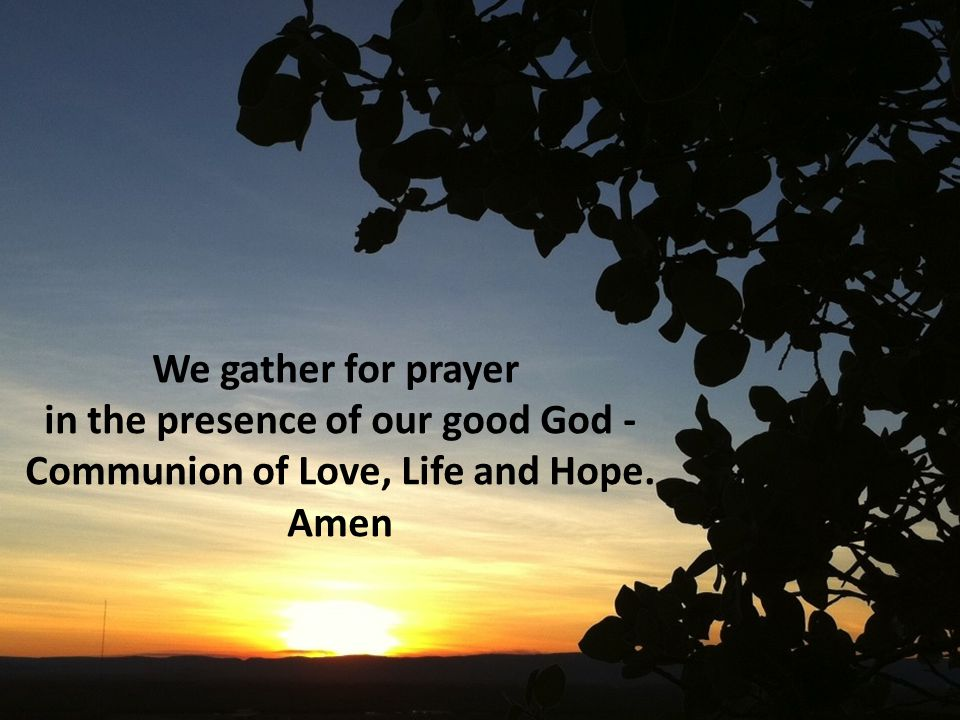 We gather for prayer in the presence of our good God - Communion of Love, Life and Hope. Amen