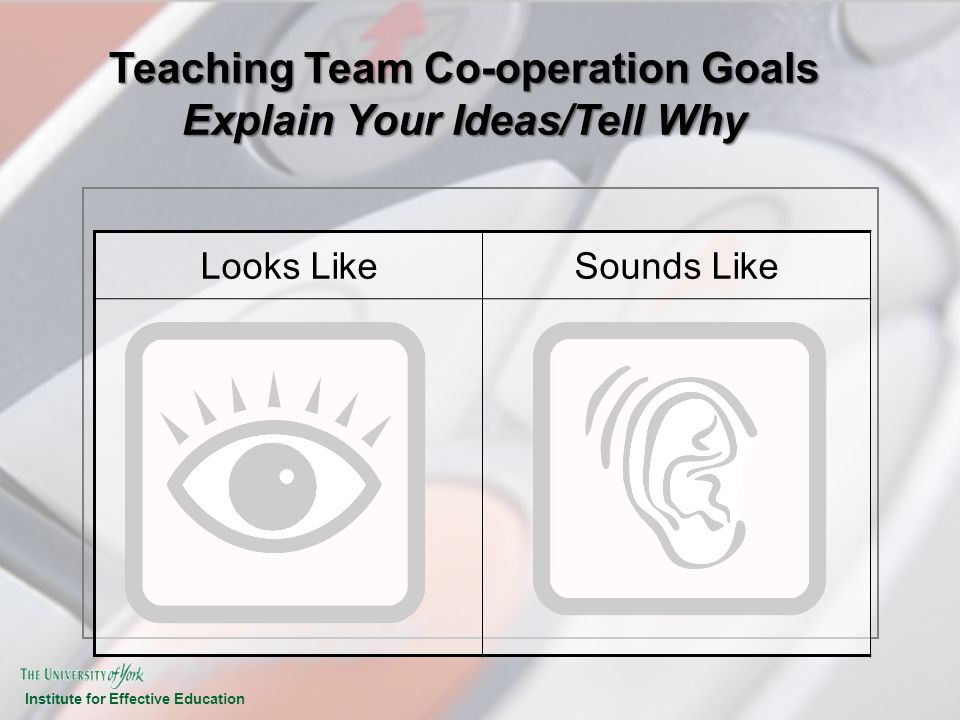 Institute for Effective Education Teaching Team Co-operation Goals Explain Your Ideas/Tell Why Looks LikeSounds Like