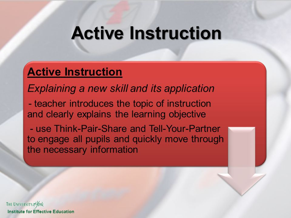 Institute for Effective Education Active Instruction Explaining a new skill and its application - teacher introduces the topic of instruction and clea