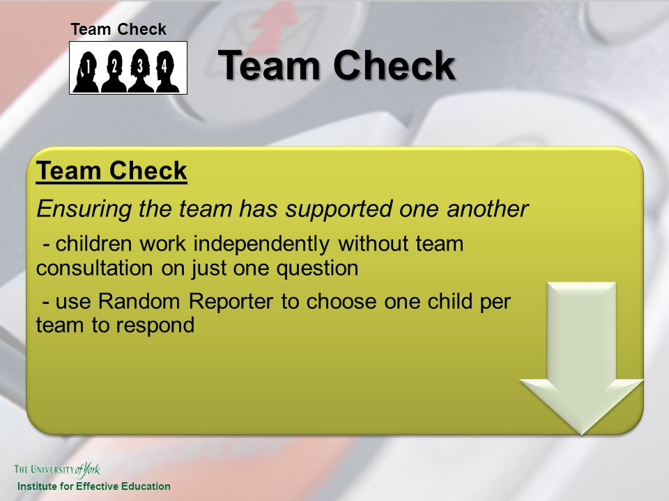 Institute for Effective Education Team Check Ensuring the team has supported one another - children work independently without team consultation on ju