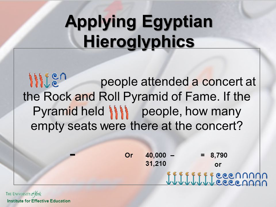 Institute for Effective Education Applying Egyptian Hieroglyphics people attended a concert at the Rock and Roll Pyramid of Fame. If the Pyramid held