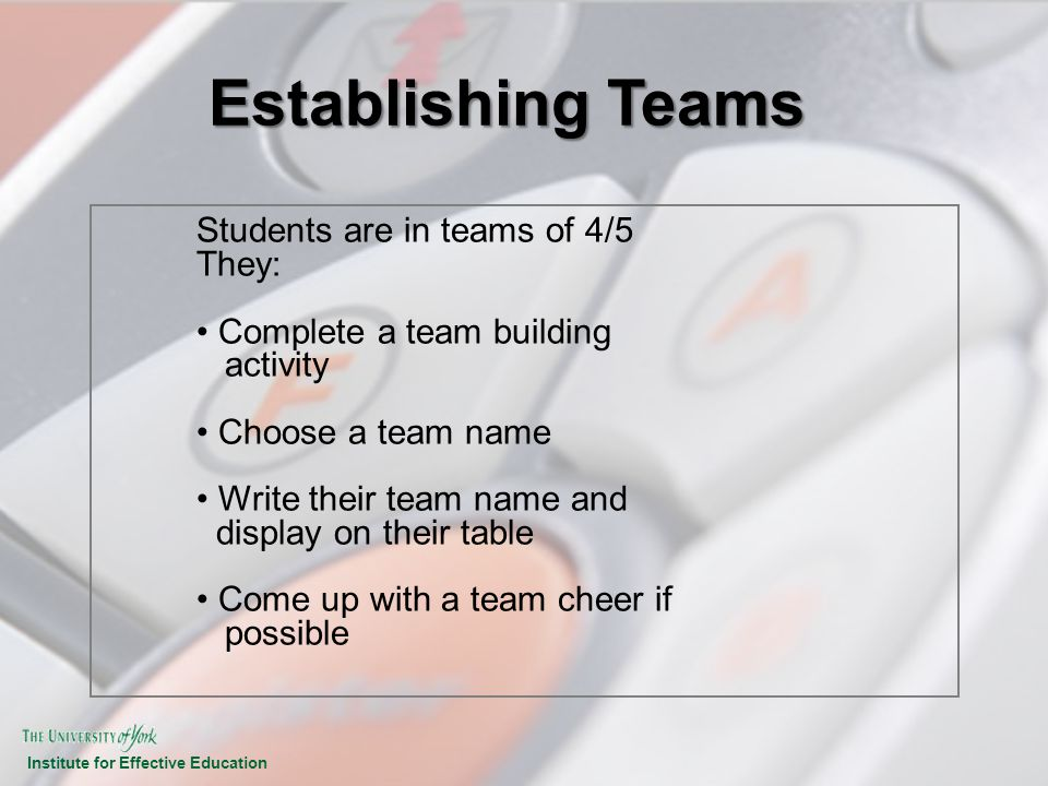 Institute for Effective Education Establishing Teams Students are in teams of 4/5 They: Complete a team building activity Choose a team name Write the