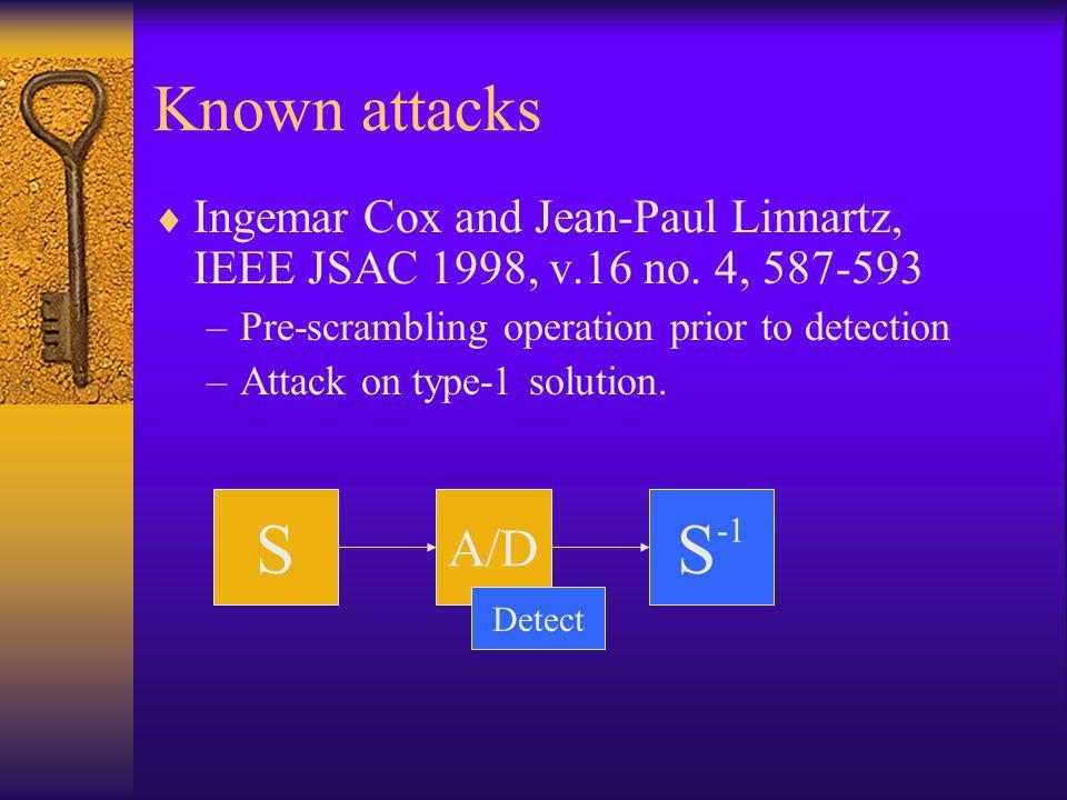 Known attacks  Ingemar Cox and Jean-Paul Linnartz, IEEE JSAC 1998, v.16 no.