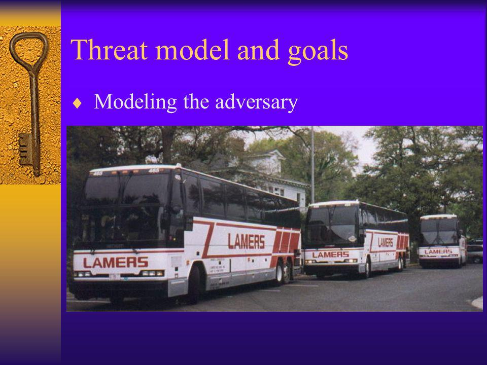 Threat model and goals  Modeling the adversary