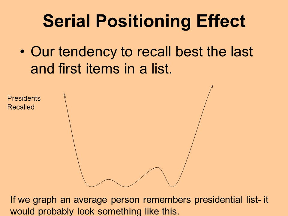 Serial Positioning Effect Our tendency to recall best the last and first items in a list. If we graph an average person remembers presidential list- i
