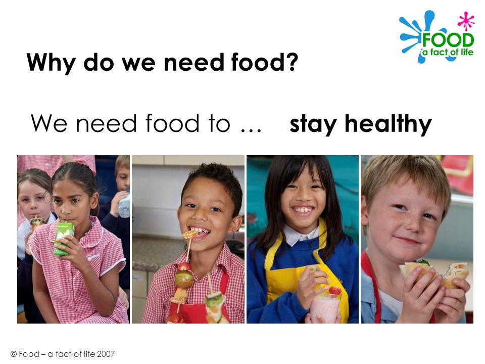 © Food – a fact of life 2007 Why do we need food? stay healthy We need food to …