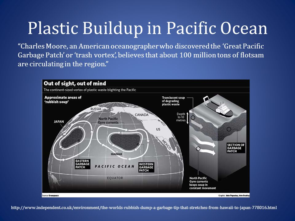 Plastic Buildup in Pacific Ocean http://www.independent.co.uk/environment/the-worlds-rubbish-dump-a-garbage-tip-that-stretches-from-hawaii-to-japan-77