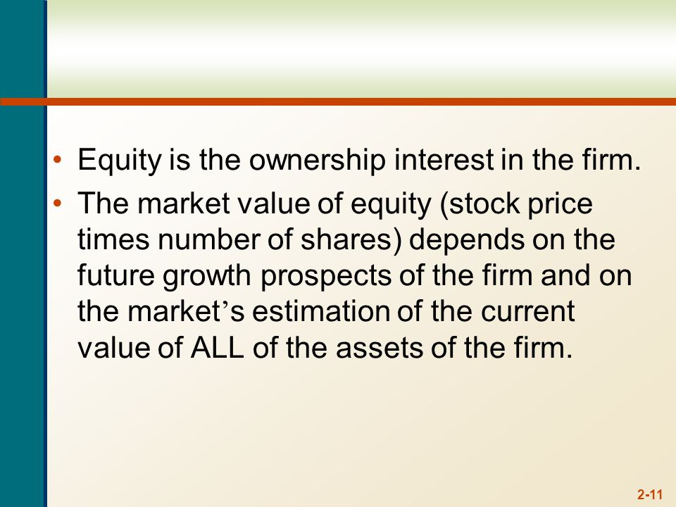 2-11 Equity is the ownership interest in the firm.