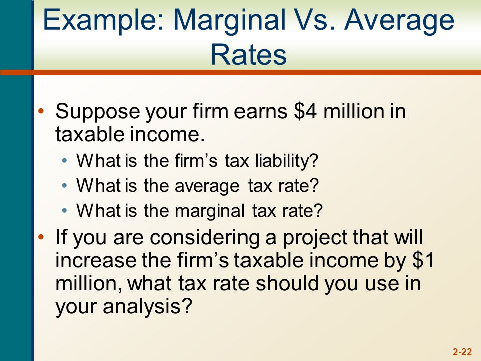 2-22 Example: Marginal Vs. Average Rates Suppose your firm earns $4 million in taxable income.