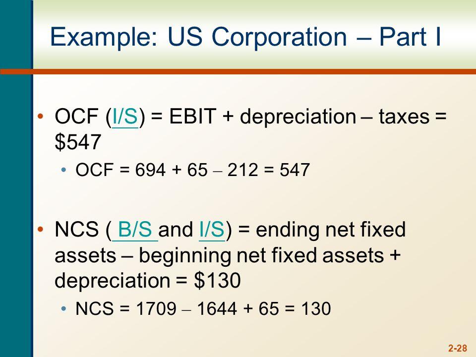 2-28 Example: US Corporation – Part I OCF (I/S) = EBIT + depreciation – taxes = $547I/S OCF = 694 + 65 – 212 = 547 NCS ( B/S and I/S) = ending net fixed assets – beginning net fixed assets + depreciation = $130 B/S I/S NCS = 1709 – 1644 + 65 = 130