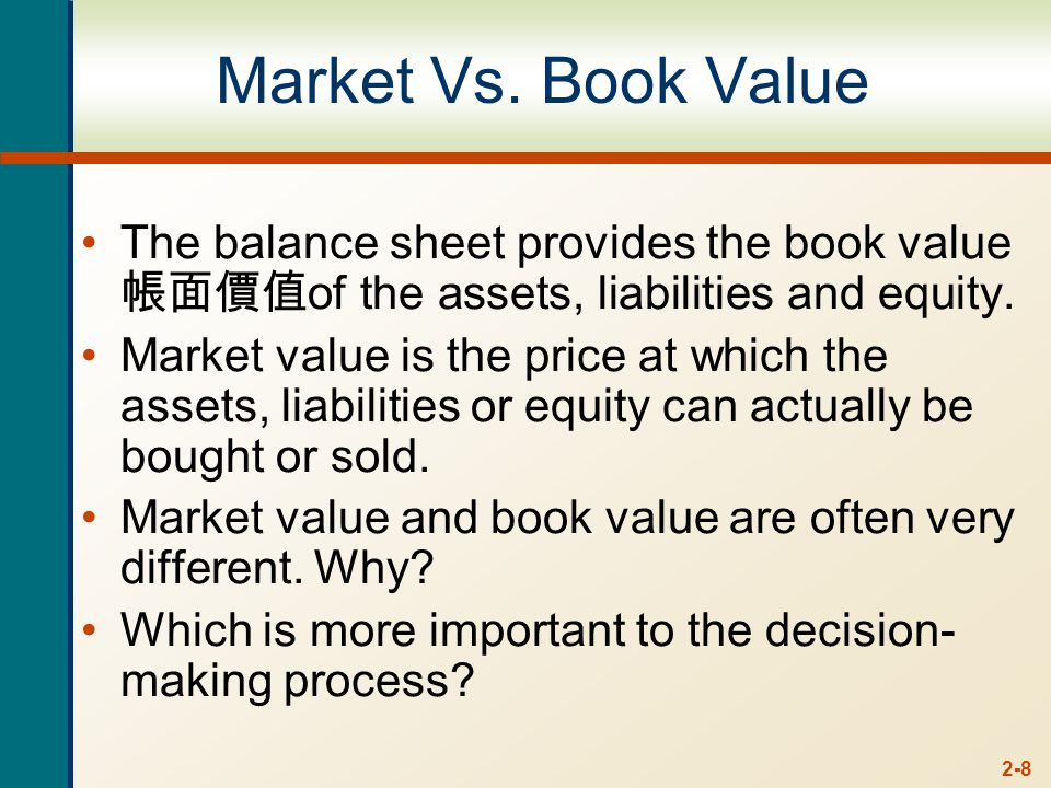 2-8 Market Vs. Book Value The balance sheet provides the book value 帳面價值 of the assets, liabilities and equity. Market value is the price at which the