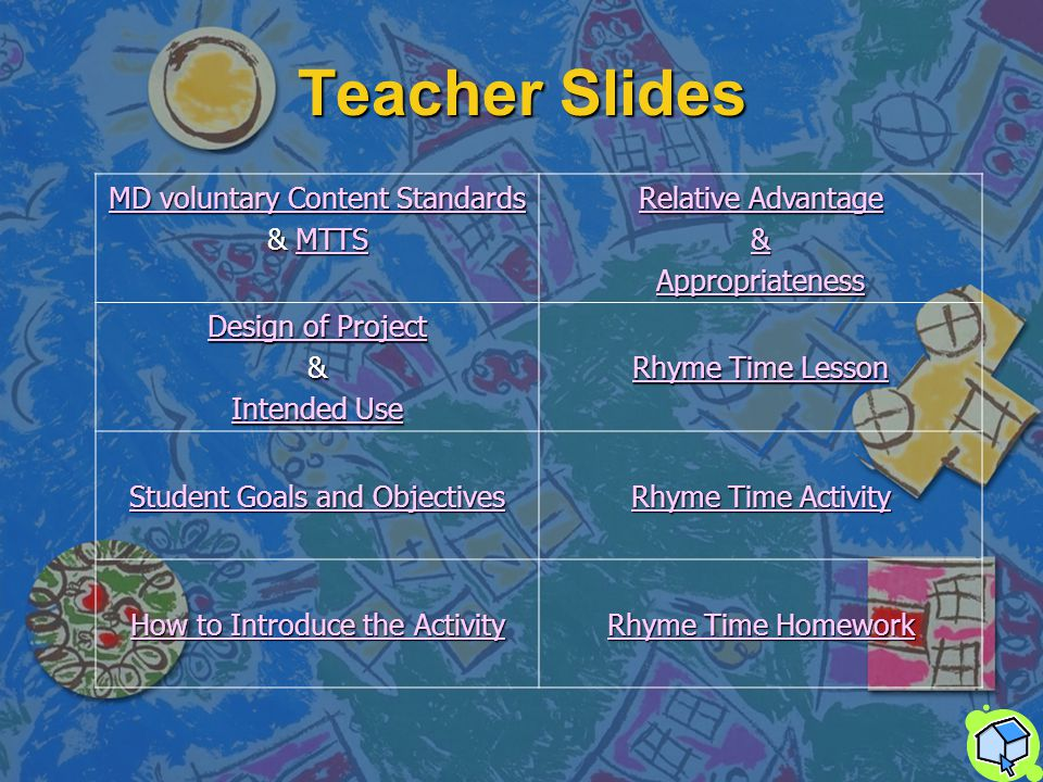 Table of Contents Teacher Slides Teacher Slides Rhyme Time Lesson Rhyme Time Lesson Rhyme Time Activity Rhyme Time Activity