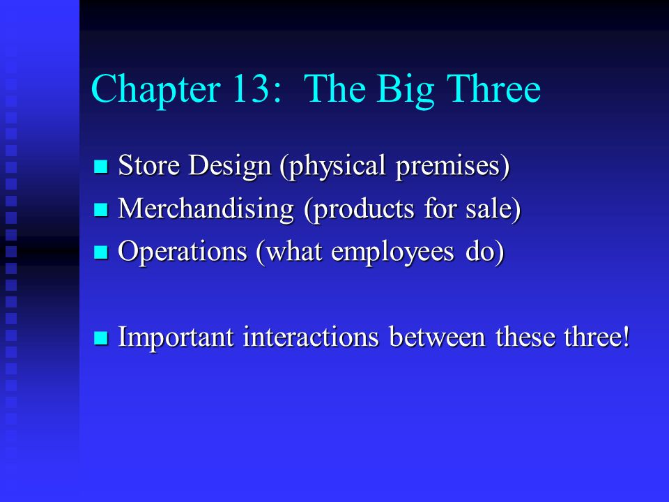 Chapter 13: The Big Three Store Design (physical premises) Store Design (physical premises) Merchandising (products for sale) Merchandising (products
