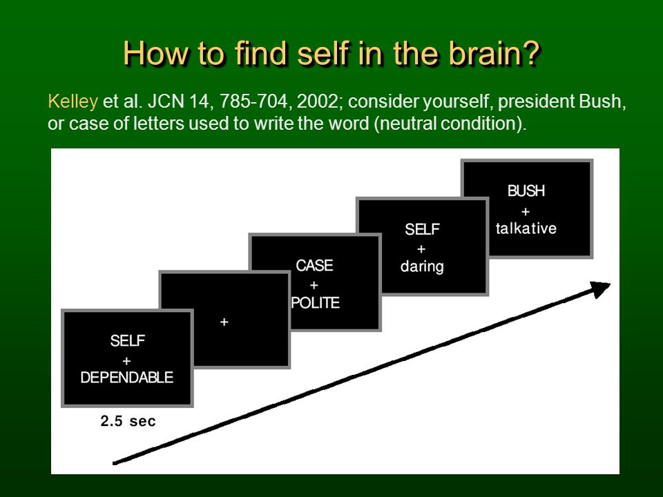 How to find self in the brain? Kelley et al. JCN 14, 785-704, 2002; consider yourself, president Bush, or case of letters used to write the word (neut