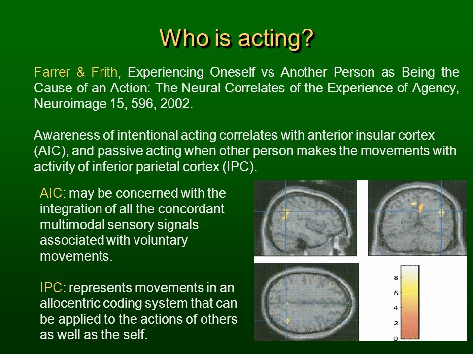 Who is acting? Farrer & Frith, Experiencing Oneself vs Another Person as Being the Cause of an Action: The Neural Correlates of the Experience of Agen