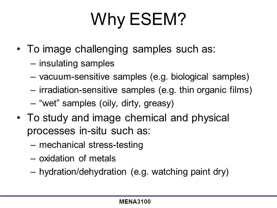 MENA3100 Why ESEM? To image challenging samples such as: –insulating samples –vacuum-sensitive samples (e.g. biological samples) –irradiation-sensitiv
