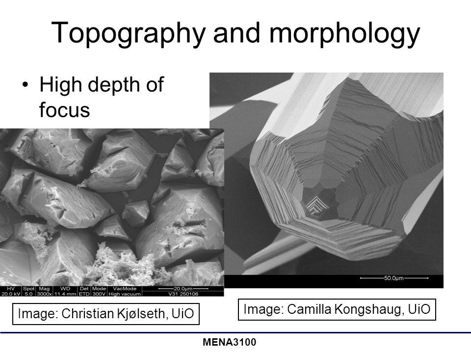 MENA3100 Topography and morphology High depth of focus Image: Camilla Kongshaug, UiO Image: Christian Kjølseth, UiO