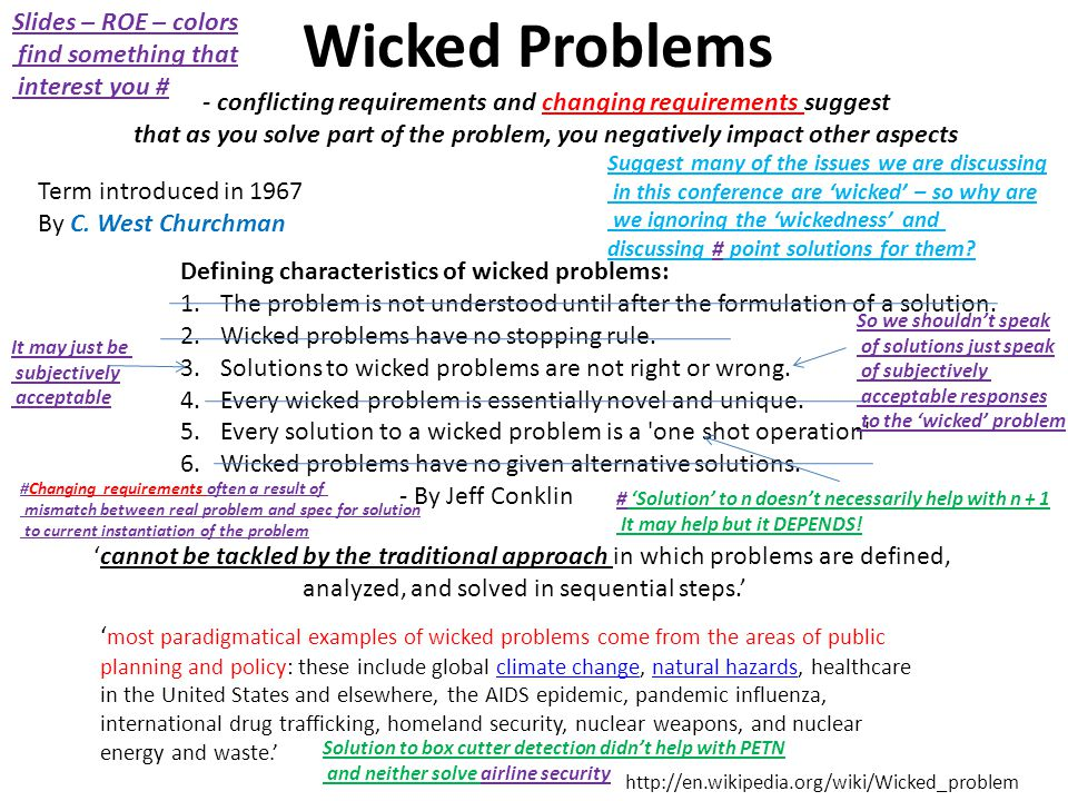 - conflicting requirements and changing requirements suggest that as you solve part of the problem, you negatively impact other aspects Wicked Problems Term introduced in 1967 By C.