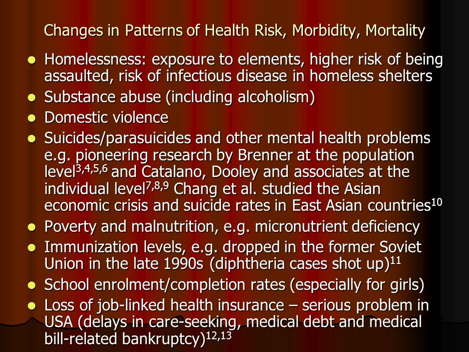 Changes in Patterns of Health Risk, Morbidity, Mortality Homelessness: exposure to elements, higher risk of being assaulted, risk of infectious disease in homeless shelters Homelessness: exposure to elements, higher risk of being assaulted, risk of infectious disease in homeless shelters Substance abuse (including alcoholism) Substance abuse (including alcoholism) Domestic violence Domestic violence Suicides/parasuicides and other mental health problems e.g.