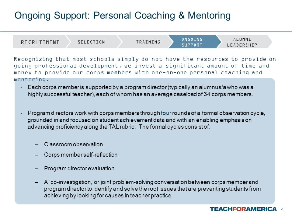 Ongoing Support: Personal Coaching & Mentoring Each corps member is supported by a program director (typically an alumnus/a who was a highly successfu