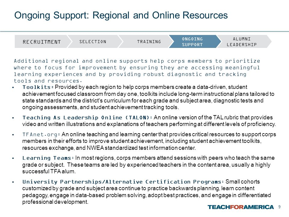 9 Toolkits: Provided by each region to help corps members create a data-driven, student achievement focused classroom from day one, toolkits include l