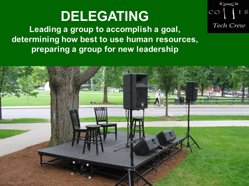 DELEGATING Leading a group to accomplish a goal, determining how best to use human resources, preparing a group for new leadership
